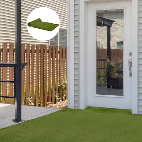 """Outsunny 13' x 3.3' Artificial Turf Grass with Simulated Look & Feel, UV Protection, & Drain Holes for Rain, 1.2"""" Height"""
