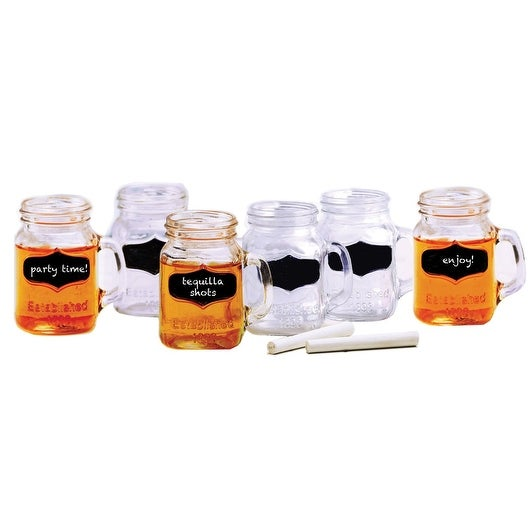Palais Mason Jar Shot Glasses - Holds 5 Oz - Set of 6 (Clear w/Chalkboard & Chalk)