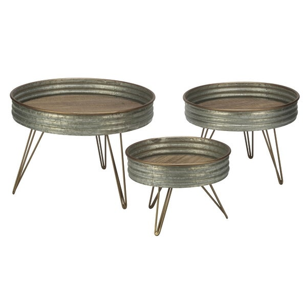 "Set of 3 Round Distressed Metal Risers Display Stands 14.63"" - N/A"