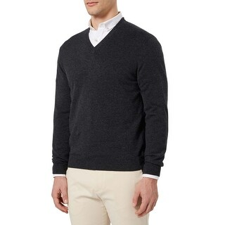 Bloomingdales Mens 2-Ply Cashmere V-Neck Sweater Dark Charcoal