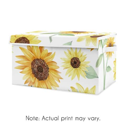 Sunflower Boho Floral Collection Girl Kids Fabric Toy Bin Storage - Yellow, Green and White Farmhouse Watercolor Flower