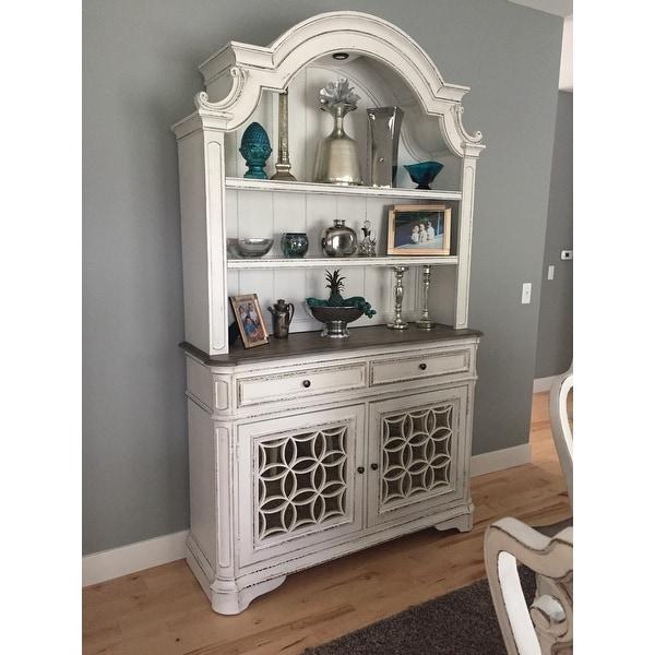 shop magnolia manor antique white buffet and hutch on sale free rh overstock com farmhouse archive buffet and hutch - antique white