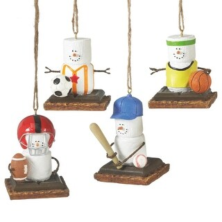 """2.5"""" S'mores Marshmallow Football Player Sports Decorative Christmas Ornament"""