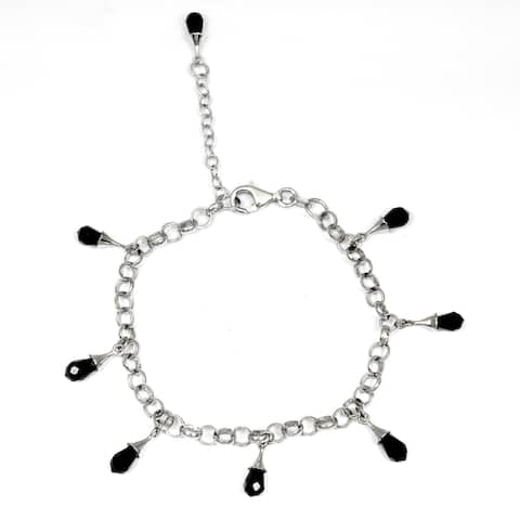 Cubic Zirconia Sterling Silver Drop Chain Bracelet by Orchid Jewelry