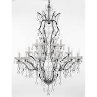 19th Baroque Iron & Crystal Chandelier Lighting H52 x W41