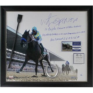 Victor Espinoza Framed and 2015 Belmont Stakes 20x24 Canvas w 15 Triple Crown 12th TC in History Ke