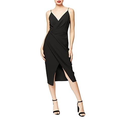 Betsey Johnson Women's Faux Wrap Front Slit Spaghetti Strap V-Neck Midi Dress