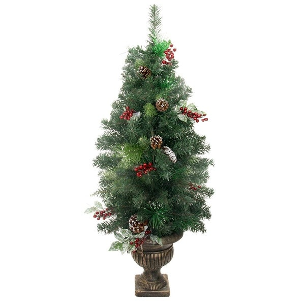 4' Potted Pre-Decorated Frosted Pine Cone, Berry and Twig Artificial Christmas Tree - Unlit