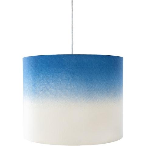 """Tuti Dip-Dyed Blue Cotton 18-inch Drum Pendant Light - 14""""H x 18""""W x 18""""D"""