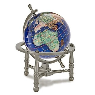 3 in. Gemstone Globe with Antique Silver Nautical 3-Leg Stand -