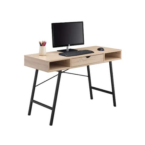 JJS Mid Century Modern Home Office Writing Desk with Drawer
