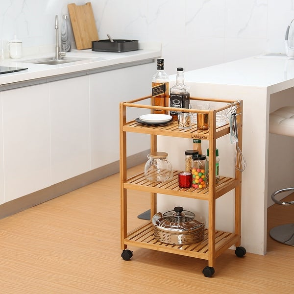 LANGRIA Bamboo All-Purpose 3 Tier Rolling Cart with Removable Hooks and Lockable Wheels