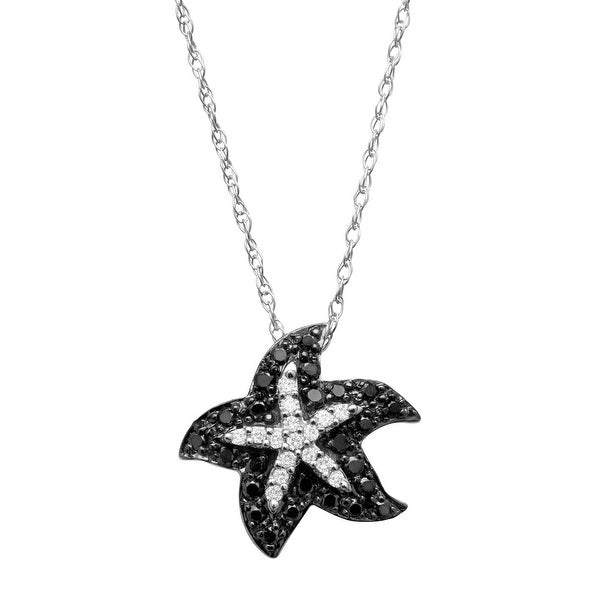 1/5 ct Black & White Diamond Starfish Pendant in 14K White Gold