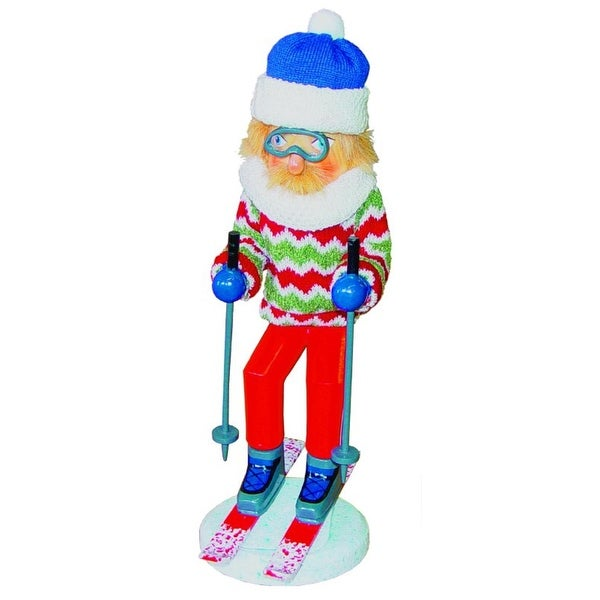 """15"""" Downhill Snow Skier with Sweater Decorative Wooden Christmas Nutcracker"""