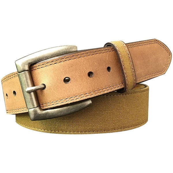 G-Bar-D Western Belt Mens Genuine Leather Canvas Brown