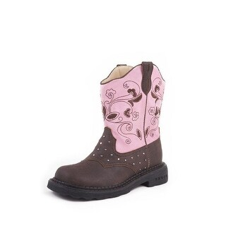 Roper Western Boots Girls Floral Light Child Brown
