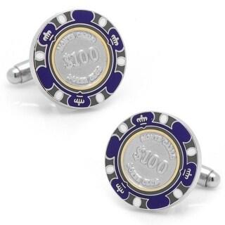 Purple, White and Gray 100 Dollar Poker Chip Cufflinks