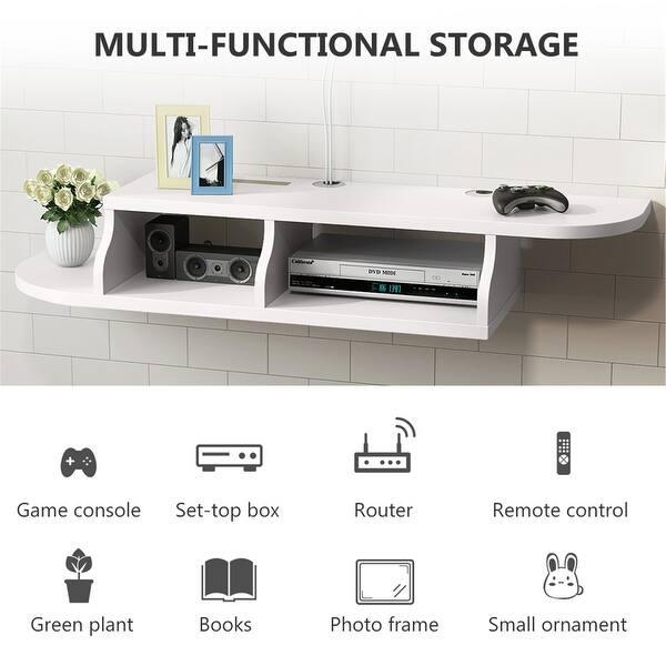 2 Tier Modern Wall Mount Floating Shelf Tv Console Overstock 31318357