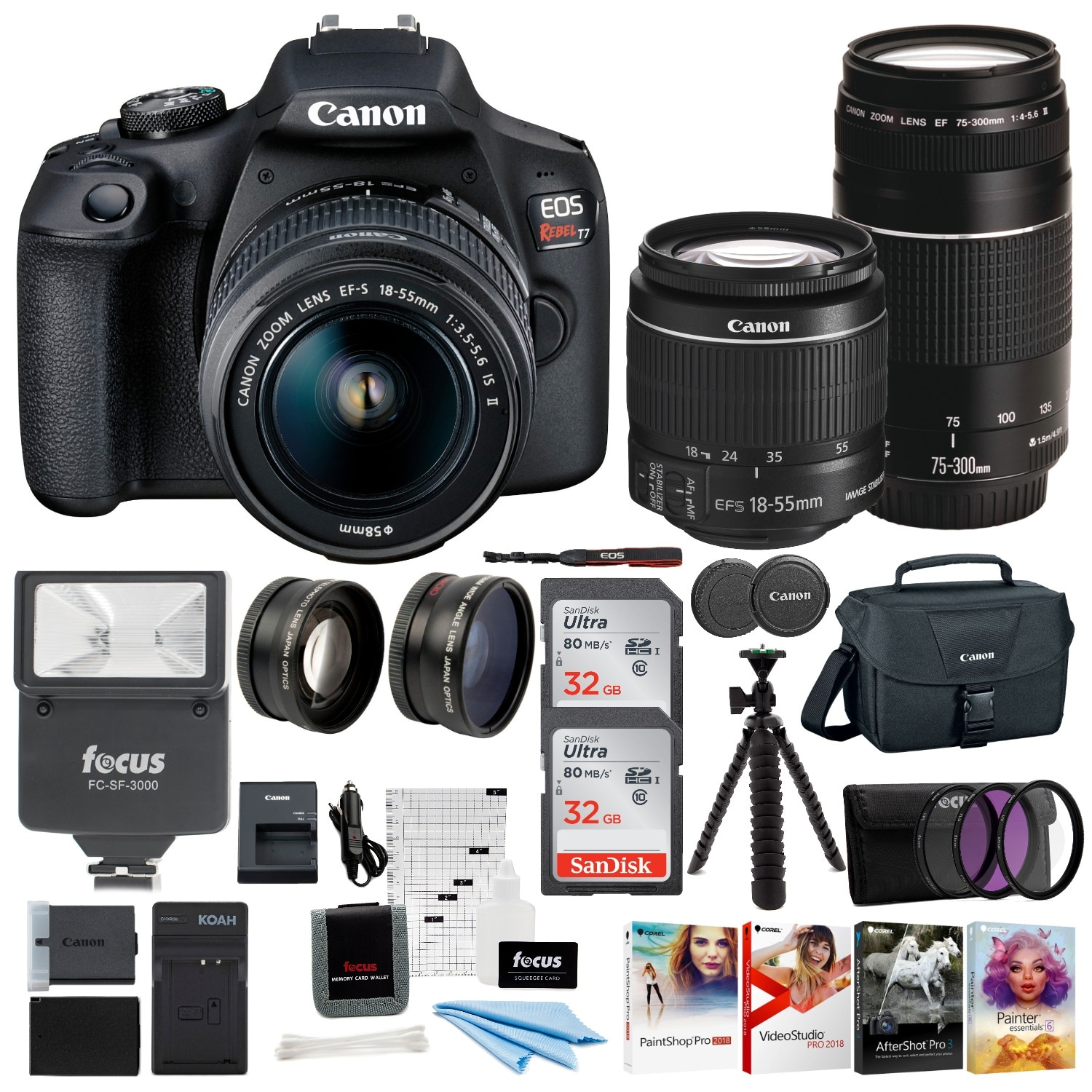 Canon Eos Rebel T7 Dslr Camera 18 55 75 300 Double Zoom Lens Bundle