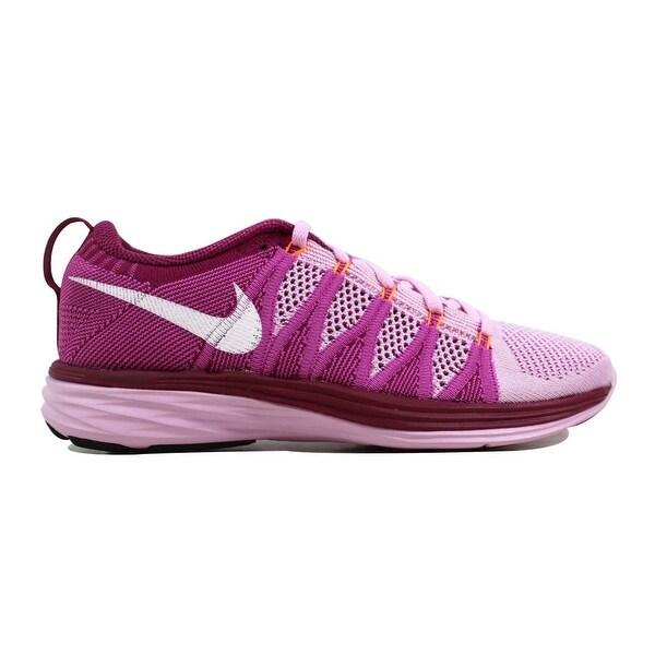 591d772818a81 Shop Nike Women s Flyknit Lunar2 Light Arctic Pink White-Red Velvet ...