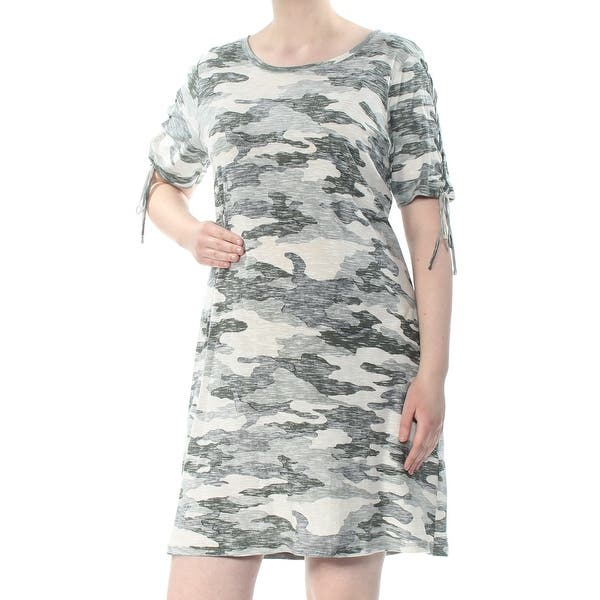 VINCE CAMUTO Womens Green Tie Sleeves Camouflage Short Sleeve Jewel Neck  Above The Knee Shift Dress Plus Size: 1X