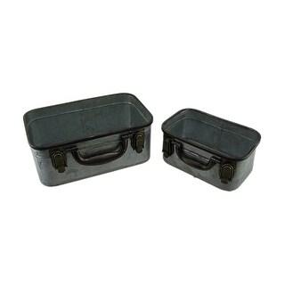 2 Piece Rustic Galvanized Metal Suitcase Style Storage Bin Set