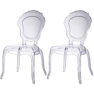 2xhome - Set of Two (2) - Clear - Belle Ghost Chair Clear Side Chair Armless