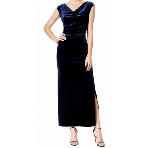 997b0bc434 Shop MSK NEW Blue Womens Size 14 Sheath Velvet Cowl-Neck Side-Slit Dress -  Free Shipping On Orders Over  45 - Overstock - 18371045
