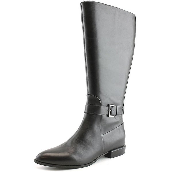 Nine West Diablo Wide Calf Women Round Toe Leather Mid Calf Boot