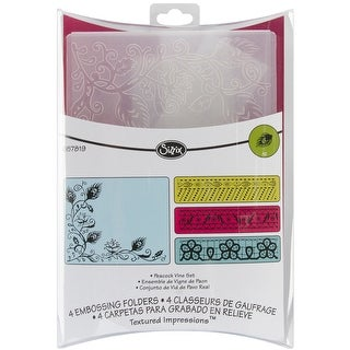 Sizzix Textured Impressions A2 Embossing Folders 4/Pkg-Peacock Vine