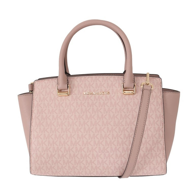 newest preview of authentic Michael Kors Pink SELMA Leather Satchel Women's Bag - One Size