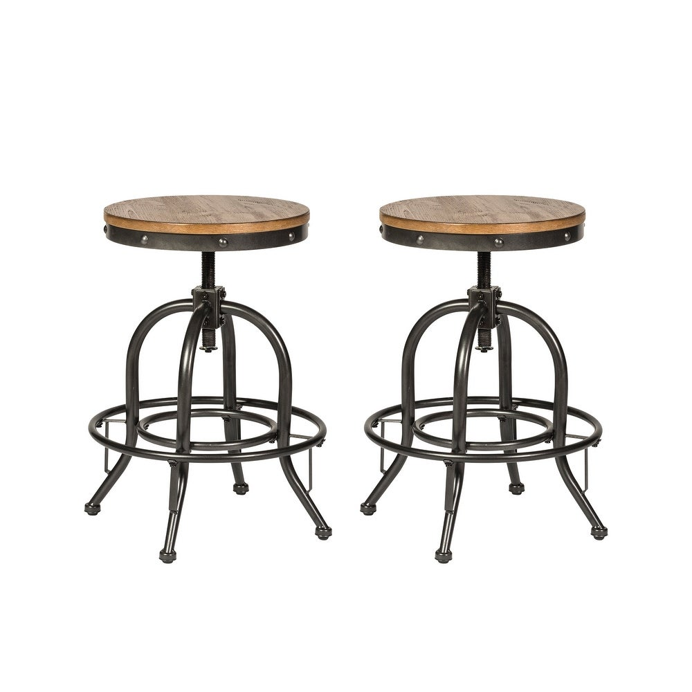 Shop Carbon Loft Cauthen Vintage Dining Series Distressed Metal Adjustable Barstool (Set of 2) from Overstock on Openhaus