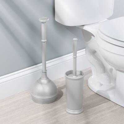 mDesign Plastic Freestanding Bathroom Toilet Bowl Brush, Plunger Set - Set of 2