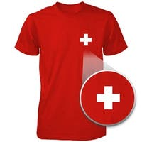Switzerland Flag Pocket Printed Red Tee Men's Short Sleeve T-shirt
