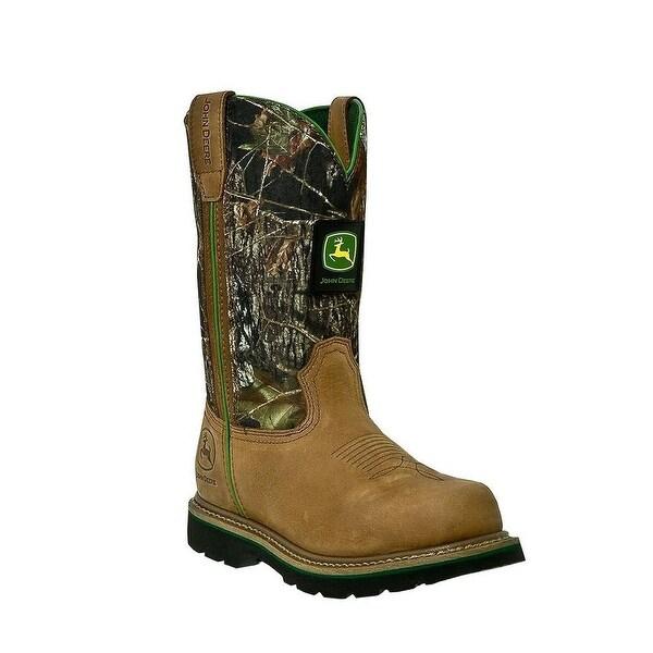 John Deere Work Boots Mens Round Toe Cowboy Tan Mossy Oak
