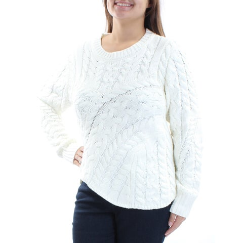 KIIND OF Womens Ivory Knitted Long Sleeve Jewel Neck Sweater Size: XL