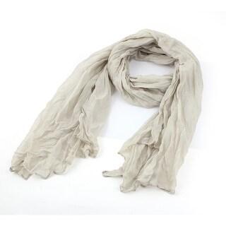 Unique Bargains Ladies Spring Autumn Khaki Cotton Blends Pleated Shawl Blouse Decor Scarf Wrap