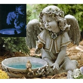 "14"" Joseph's Studio Solar Powered Bird Bath Angel Outdoor Garden Statue - N/A"