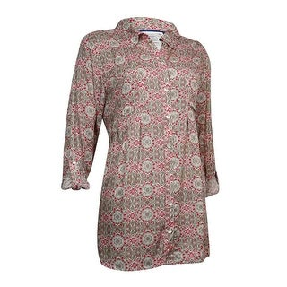 Style & Co Women's Printed Roll-Tab Sleeve Pleated Blouse - tradition tiles