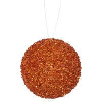 "6ct Orange Sequin and Glitter Drenched Christmas Ball Ornaments 3"" (80mm)"