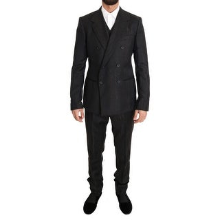 Dolce & Gabbana Dolce & Gabbana Brown Wool Double Breasted Slim Fit Suit - it48-m