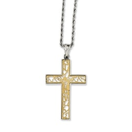 Chisel Stainless Steel Yellow IP-plated Polished Crucifix 20in Necklace (2 mm) - 20 in