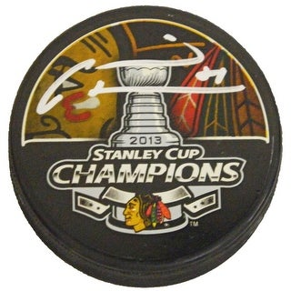 Marian Hossa Signed Blackhawks 2013 Stanley Cup Champs Logo Hockey Puck