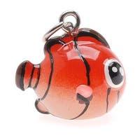Hand Painted 3-D Clown Fish Charm 18mm Lightweight (1)