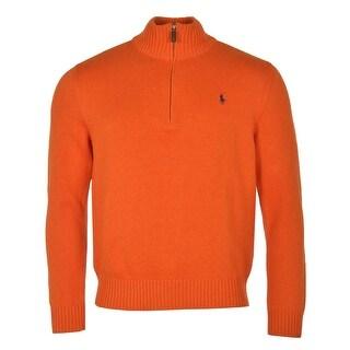 Polo Ralph Lauren RL Half Zip Mockneck Sweater Medium Bright Orange - M