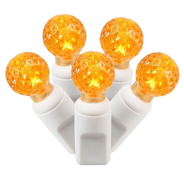 """Set of 100 Orange Commercial Grade LED G12 Berry Christmas Lights 4"""" Spacing - White Wire"""