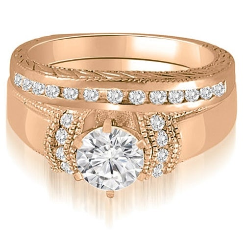 1.10 cttw. 14K Rose Gold Antique Style Cathedral Round Diamond Bridal Set