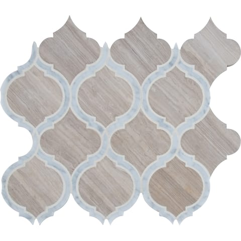 "MSI SMOTSAV-HON10MM White Quarry - 12-13/16"" x 10-7/8"" Arabesque Mosaic Sheet - Polished Marble Visual - Sold by Carton (9.7"
