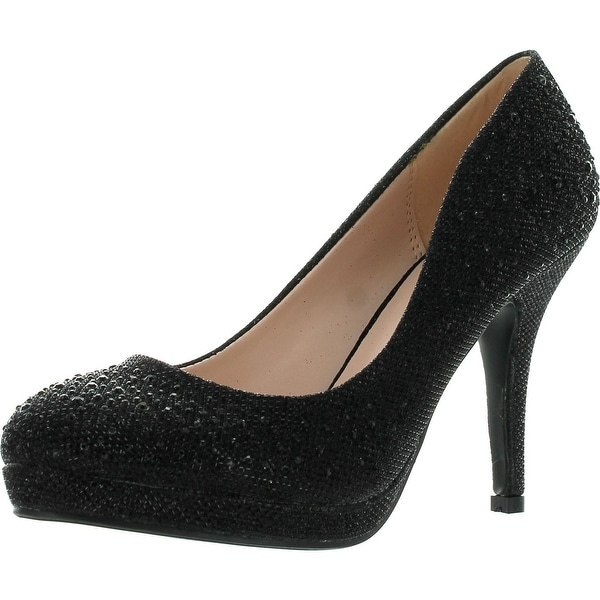 Bonnibel Olga-7 Round Toe Glitter Mesh Rhinestone Studded Low Platform Pump Heels