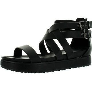 Nature Breeze Gorgeous-02 Women Leatherette Open Toe Strappy Flatform Flat Sandals
